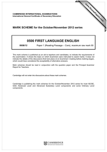 0500 FIRST LANGUAGE ENGLISH  MARK SCHEME for the October/November 2012 series