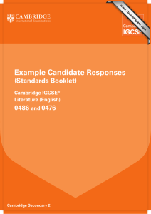 Example Candidate Responses (Standards Booklet) 0486 0476