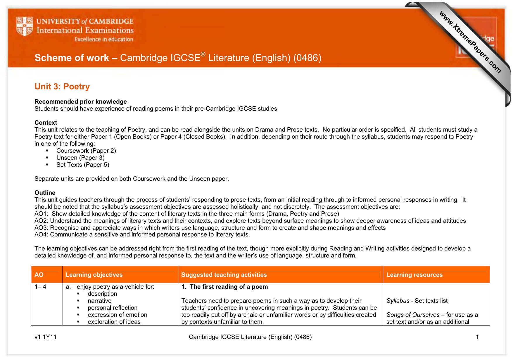 Scheme Of Work Cambridge Igcse Literature English 0486 Unit 3 Poetry