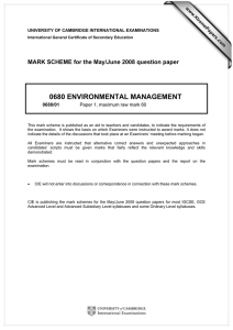 0680 ENVIRONMENTAL MANAGEMENT  MARK SCHEME for the May/June 2008 question paper