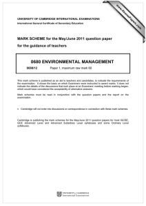 0680 ENVIRONMENTAL MANAGEMENT  MARK SCHEME for the May/June 2011 question paper