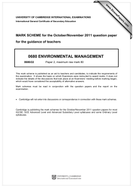 0680 ENVIRONMENTAL MANAGEMENT  MARK SCHEME for the October/November 2011 question paper