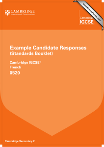 Example Candidate Responses (Standards Booklet) 0520 Cambridge IGCSE