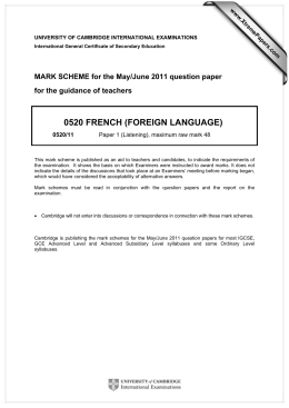 0520 FRENCH (FOREIGN LANGUAGE)  for the guidance of teachers