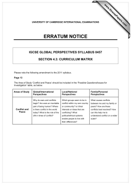 ERRATUM NOTICE IGCSE GLOBAL PERSPECTIVES SYLLABUS 0457  SECTION 4.3: CURRICULUM MATRIX