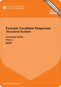 Example Candidate Responses (Standards Booklet) 0470 Cambridge IGCSE