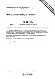 0470 HISTORY  MARK SCHEME for the May/June 2015 series