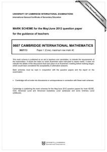 0607 CAMBRIDGE INTERNATIONAL MATHEMATICS  for the guidance of teachers