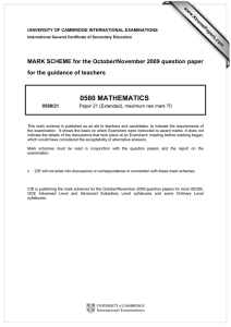 0580 MATHEMATICS  MARK SCHEME for the October/November 2009 question paper