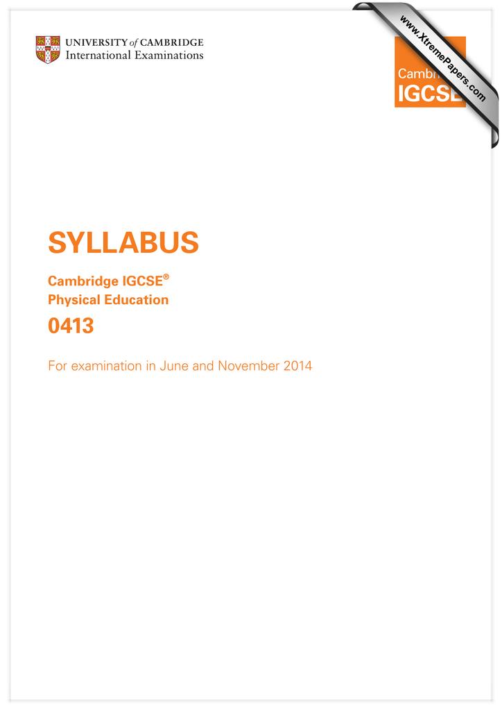 cambridge igcse physical education coursework guidance booklet