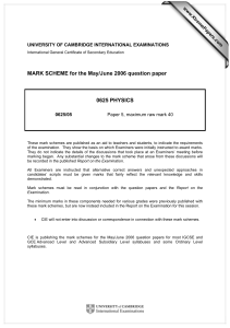 MARK SCHEME for the May/June 2006 question paper  0625 PHYSICS www.XtremePapers.com