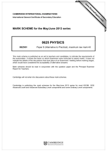 0625 PHYSICS  MARK SCHEME for the May/June 2013 series