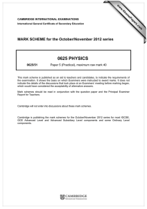 0625 PHYSICS  MARK SCHEME for the October/November 2012 series