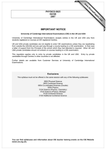 IMPORTANT NOTICE www.XtremePapers.com PHYSICS 0625 IGCSE