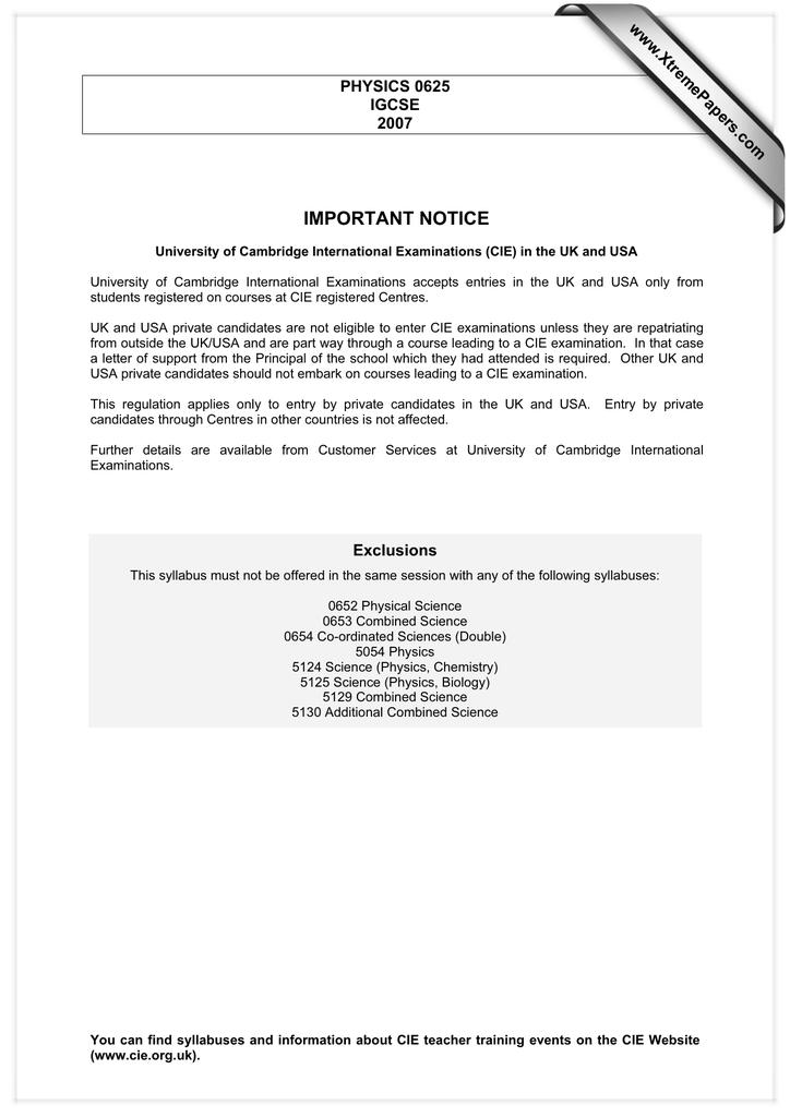 IMPORTANT NOTICE www XtremePapers com PHYSICS 0625 IGCSE
