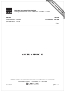 MAXIMUM MARK: 40 www.XtremePapers.com Cambridge International Examinations 0625/06