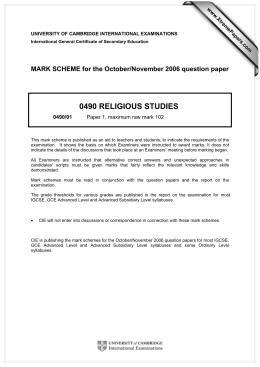 0490 RELIGIOUS STUDIES  MARK SCHEME for the October/November 2006 question paper