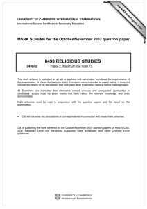 0490 RELIGIOUS STUDIES  MARK SCHEME for the October/November 2007 question paper