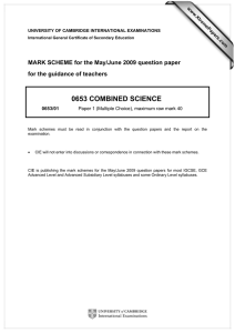 0653 COMBINED SCIENCE  MARK SCHEME for the May/June 2009 question paper