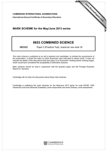 0653 COMBINED SCIENCE  MARK SCHEME for the May/June 2013 series