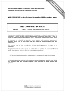 0653 COMBINED SCIENCE  MARK SCHEME for the October/November 2006 question paper