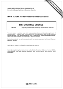 0653 COMBINED SCIENCE  MARK SCHEME for the October/November 2012 series