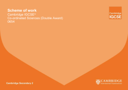 Scheme of work Cambridge IGCSE  Co-ordinated Sciences (Double Award)