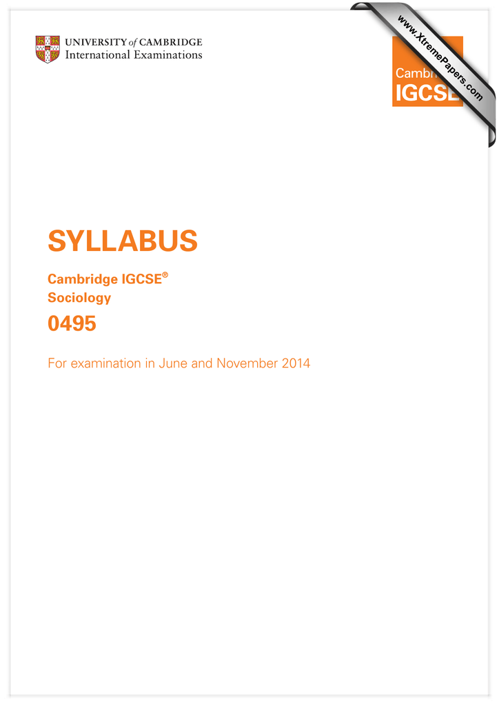SYLLABUS 0495 Cambridge IGCSE Sociology
