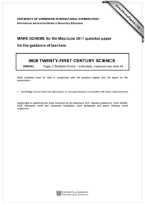 0608 TWENTY-FIRST CENTURY SCIENCE  for the guidance of teachers