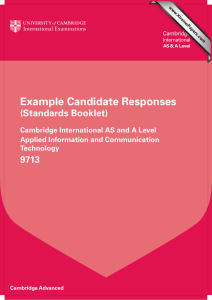Example Candidate Responses (Standards Booklet)