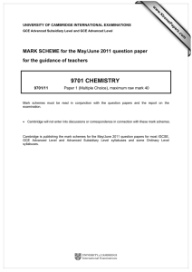 9701 CHEMISTRY  MARK SCHEME for the May/June 2011 question paper
