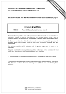 9701 CHEMISTRY  MARK SCHEME for the October/November 2006 question paper