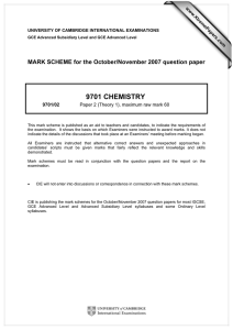 9701 CHEMISTRY  MARK SCHEME for the October/November 2007 question paper