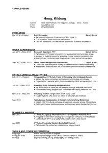 Hong, Kildong * SAMPLE RESUME
