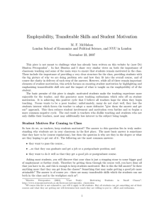 Employability, Transferable Skills and Student Motivation M. F. McMahon November 23, 2007