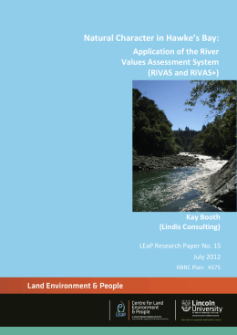 Natural Character in Hawke's Bay: Application of the River Values Assessment System