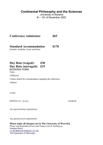 Continental Philosophy and the Sciences  Conference Admission: £65