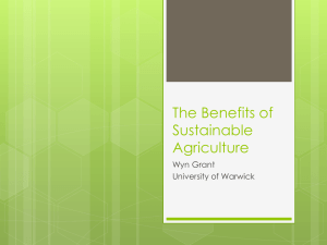 The Benefits of Sustainable Agriculture Wyn Grant