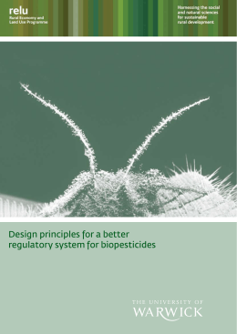 Design principles for a better regulatory system for biopesticides