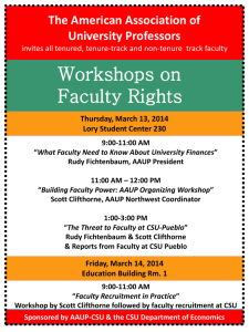 Workshops on Faculty Rights The American Association of University Professors