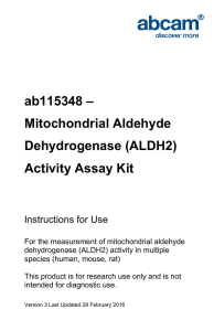 ab115348 – Mitochondrial Aldehyde Dehydrogenase (ALDH2) Activity Assay Kit