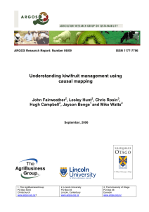 Understanding kiwifruit management using causal mapping John Fairweather , Lesley Hunt