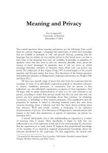 Meaning and Privacy