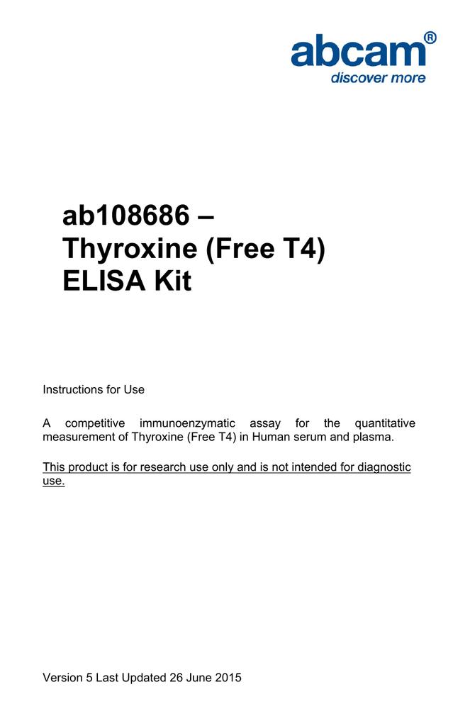 Ab108686 Thyroxine Free T4 Elisa Kit