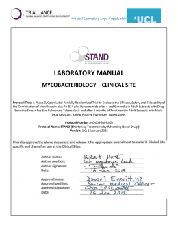 LABORATORY MANUAL MYCOBACTERIOLOGY – CLINICAL SITE
