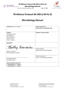 TB Alliance Protocol NC‐005‐(J‐M‐Pa‐Z)  Microbiology Manual  TB Alliance Protocol NC‐005‐(J‐M‐Pa‐Z)