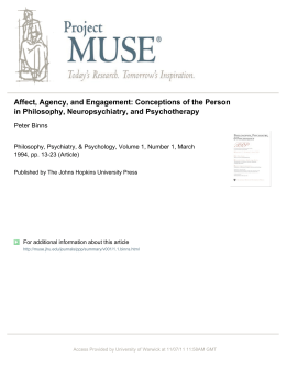 Affect, Agency, and Engagement: Conceptions of the Person