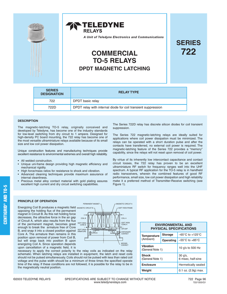 SERIES COMMERCIAL TO RELAYS - Spdt relay diode