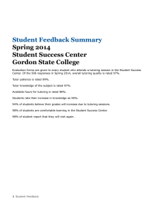 Student Feedback Summary Spring 2014 Student Success Center Gordon State College