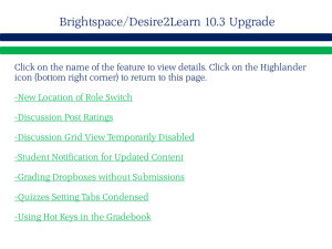 Brightspace/Desire2Learn 10.3 Upgrade
